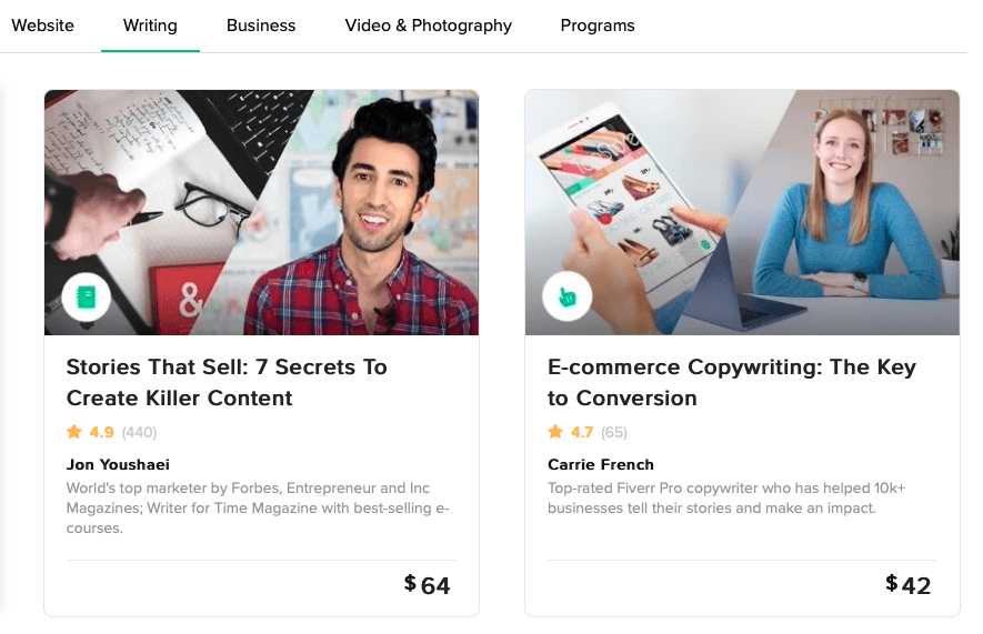 Fiverr writing courses - to create online income for teens